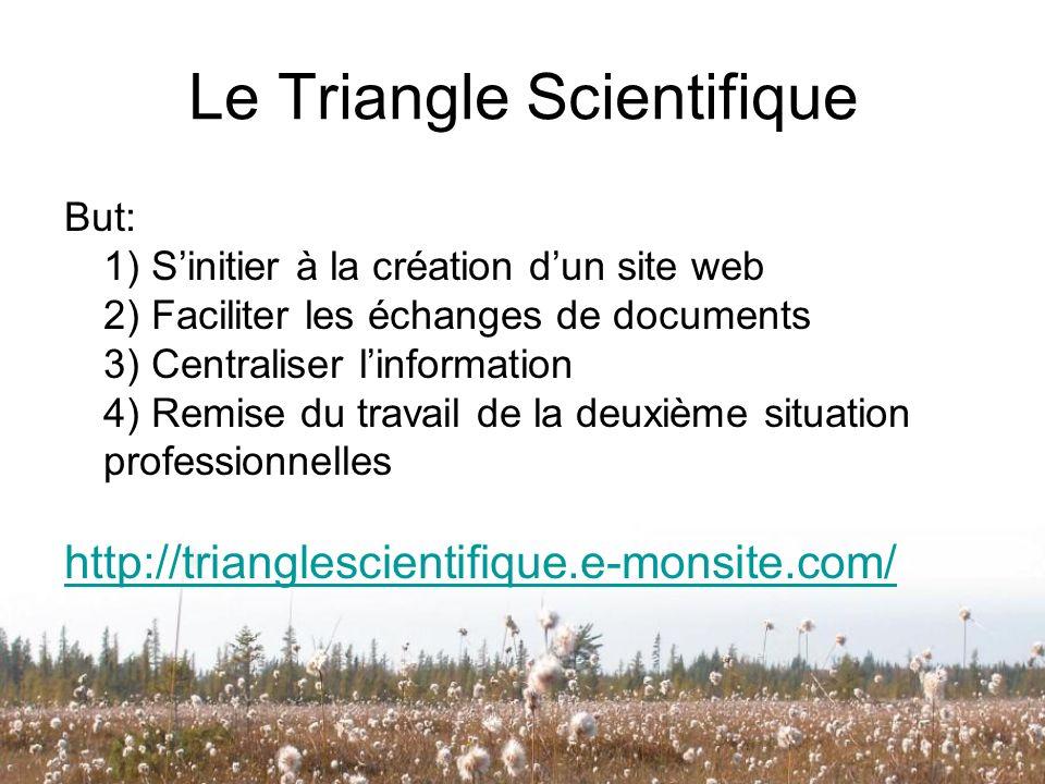 Le Triangle Scientifique But: 1) Sinitier à la création dun site web 2) Faciliter les échanges de documents 3) Centraliser linformation 4) Remise du t