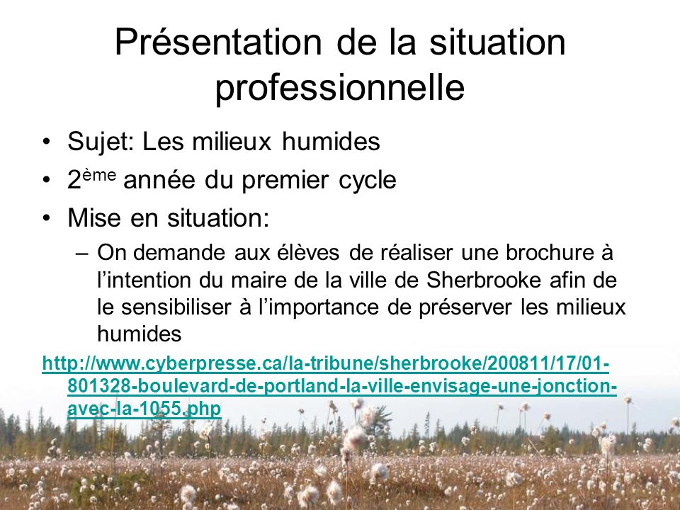 Présentation de la situation professionnelle Sujet: Les milieux humides 2 ème année du premier cycle Mise en situation: –On demande aux élèves de réal