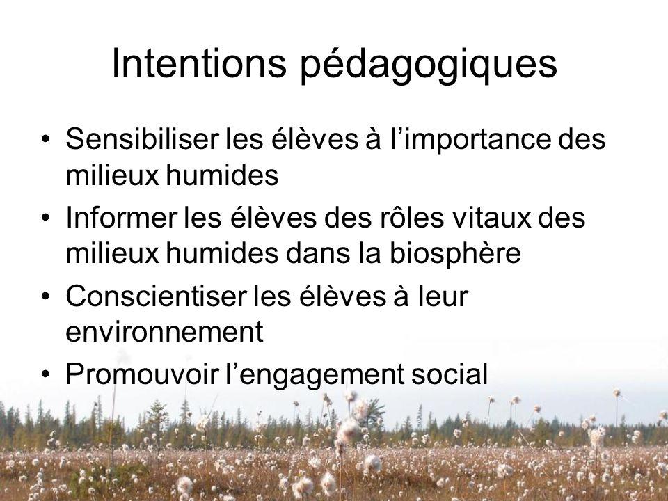 Intentions pédagogiques Sensibiliser les élèves à limportance des milieux humides Informer les élèves des rôles vitaux des milieux humides dans la bio