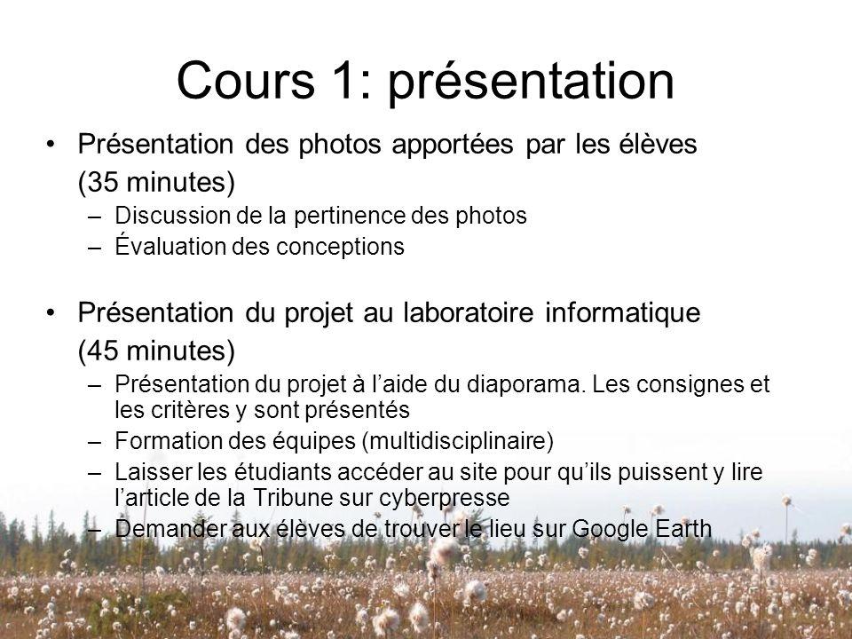 Cours 1: présentation Présentation des photos apportées par les élèves (35 minutes) –Discussion de la pertinence des photos –Évaluation des conception