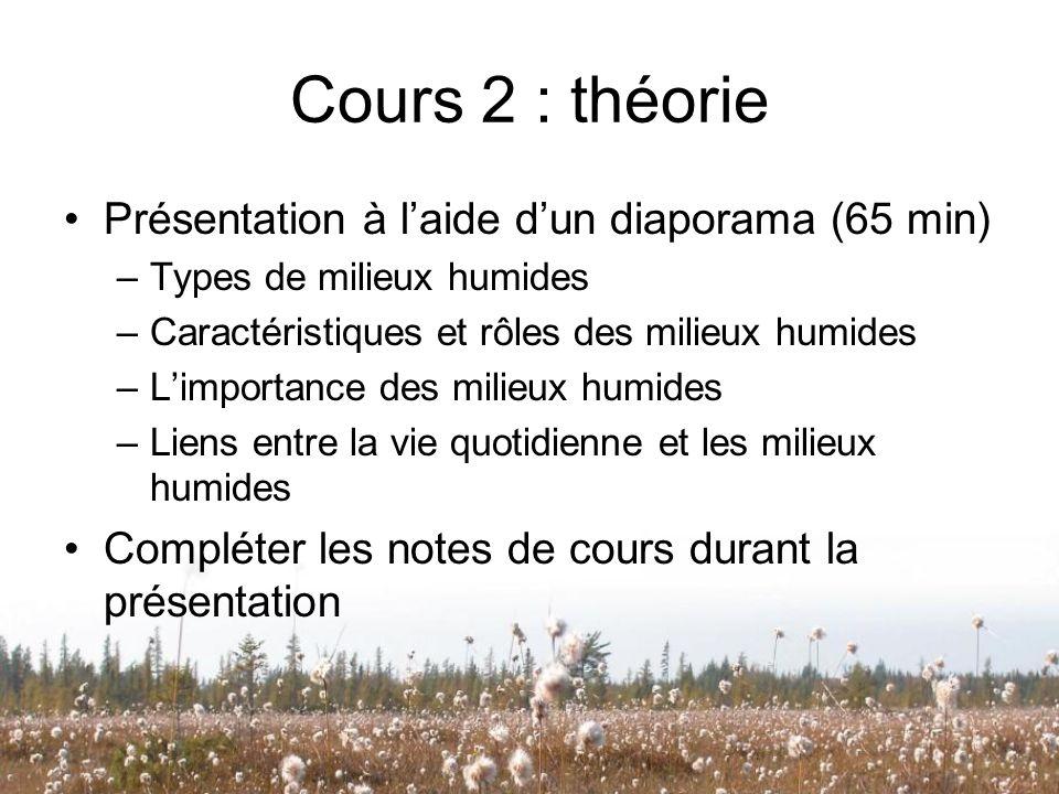 Cours 2 : théorie Présentation à laide dun diaporama (65 min) –Types de milieux humides –Caractéristiques et rôles des milieux humides –Limportance de