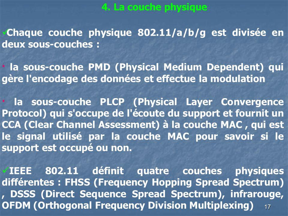 17 4. La couche physique Chaque couche physique 802.11/a/b/g est divisée en deux sous-couches : · la sous-couche PMD (Physical Medium Dependent) qui g