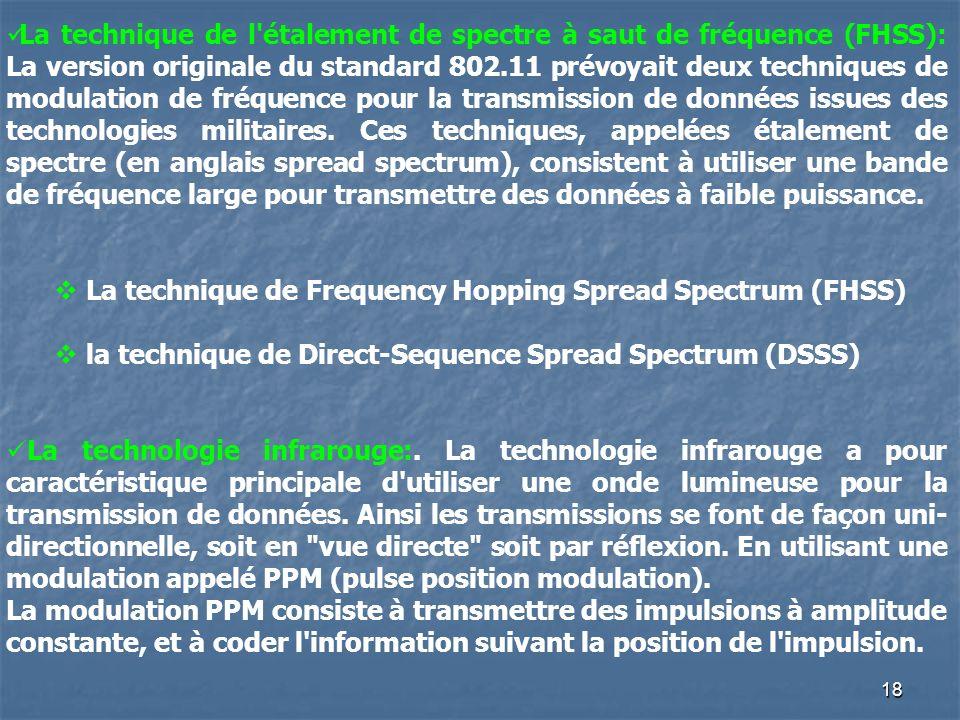 18 La technique de l'étalement de spectre à saut de fréquence (FHSS): La version originale du standard 802.11 prévoyait deux techniques de modulation