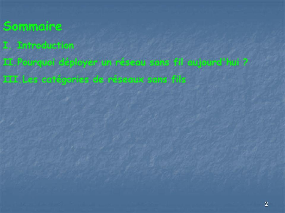 2 Sommaire I.Introduction II.Pourquoi déployer un réseau sans fil aujourd'hui ? III.Les catégories de réseaux sans fils