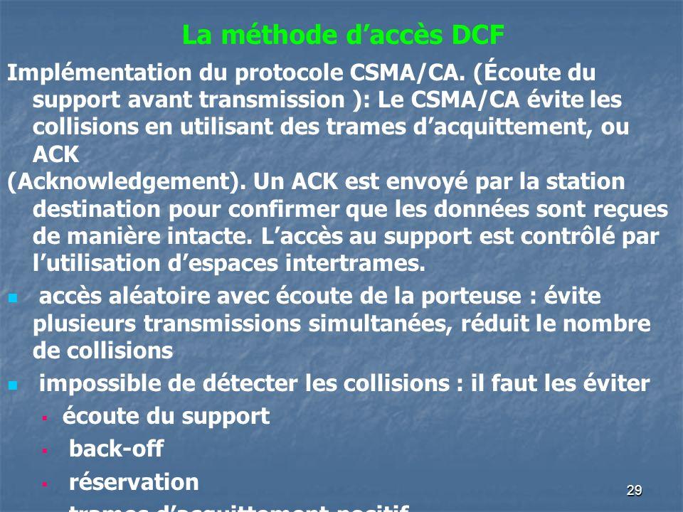 29 Implémentation du protocole CSMA/CA. (Écoute du support avant transmission ): Le CSMA/CA évite les collisions en utilisant des trames dacquittement