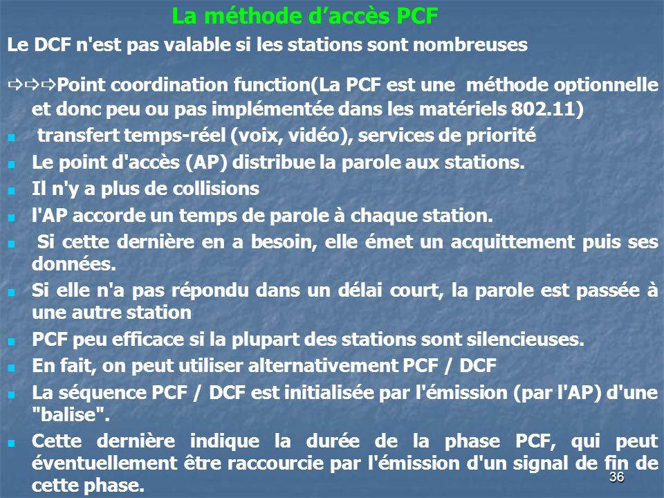 36 Le DCF n'est pas valable si les stations sont nombreuses Point coordination function(La PCF est une méthode optionnelle et donc peu ou pas implémen