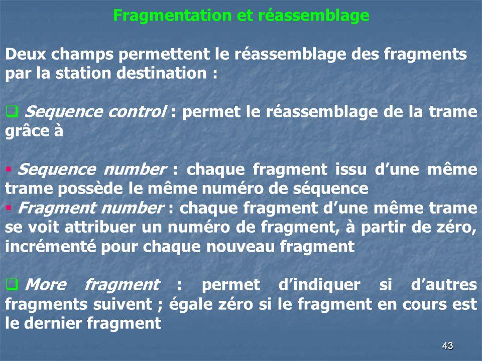 43 Fragmentation et réassemblage Deux champs permettent le réassemblage des fragments par la station destination : Sequence control : permet le réasse