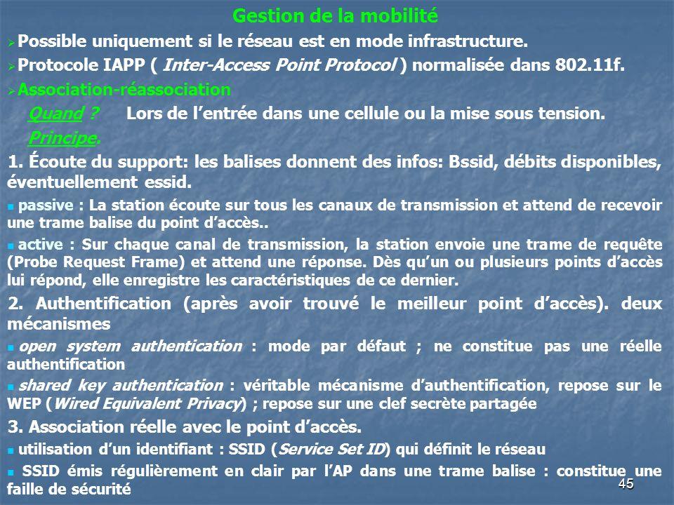 45 Gestion de la mobilité Possible uniquement si le réseau est en mode infrastructure. Protocole IAPP ( Inter-Access Point Protocol ) normalisée dans