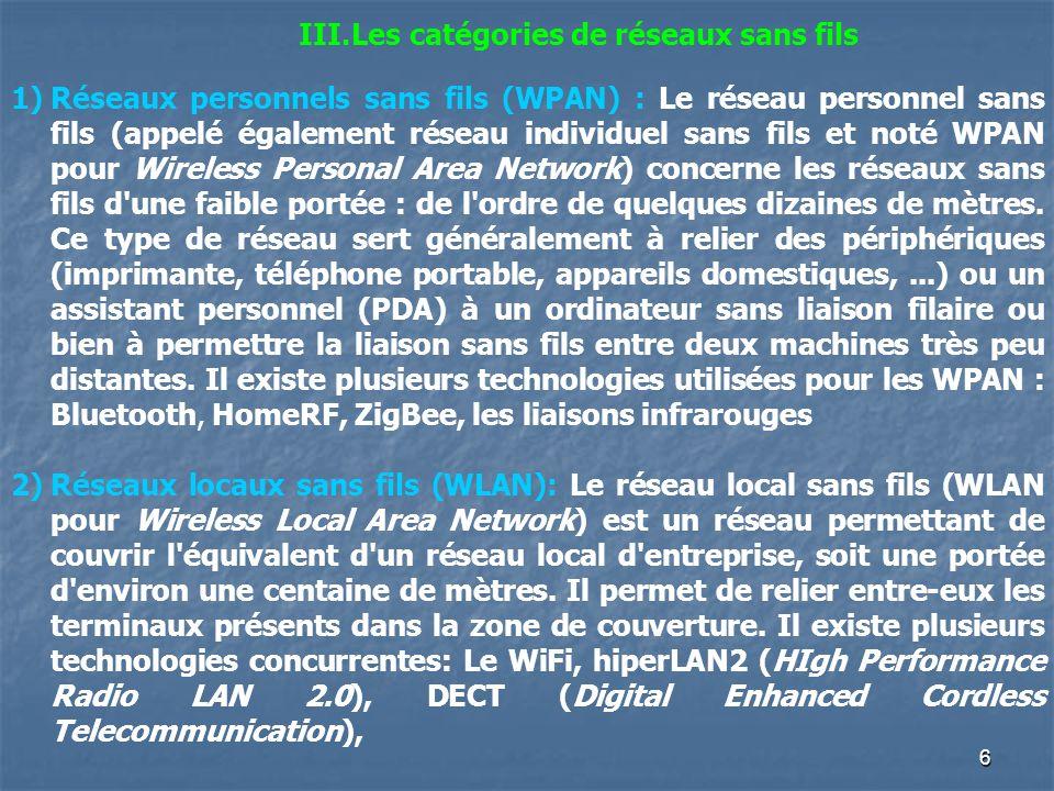 6 III.Les catégories de réseaux sans fils 1)Réseaux personnels sans fils (WPAN) : Le réseau personnel sans fils (appelé également réseau individuel sa