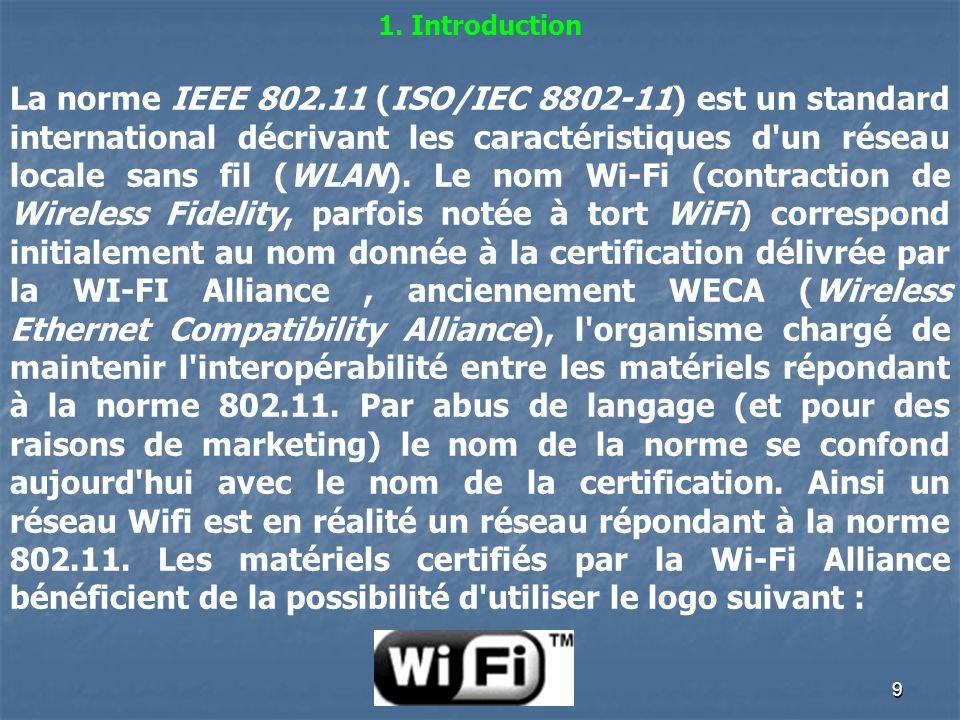 9 1. Introduction La norme IEEE 802.11 (ISO/IEC 8802-11) est un standard international décrivant les caractéristiques d'un réseau locale sans fil (WLA