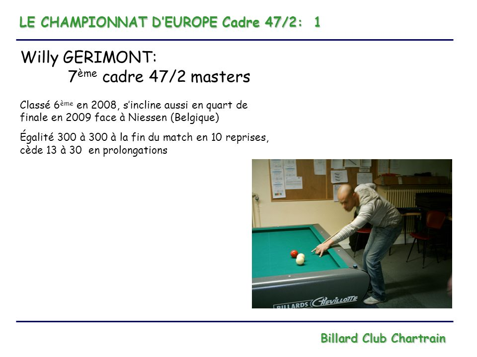 LE CHAMPIONNAT DEUROPE Cadre 47/2: 1 Billard Club Chartrain Willy GERIMONT: 7 ème cadre 47/2 masters Classé 6 ème en 2008, sincline aussi en quart de