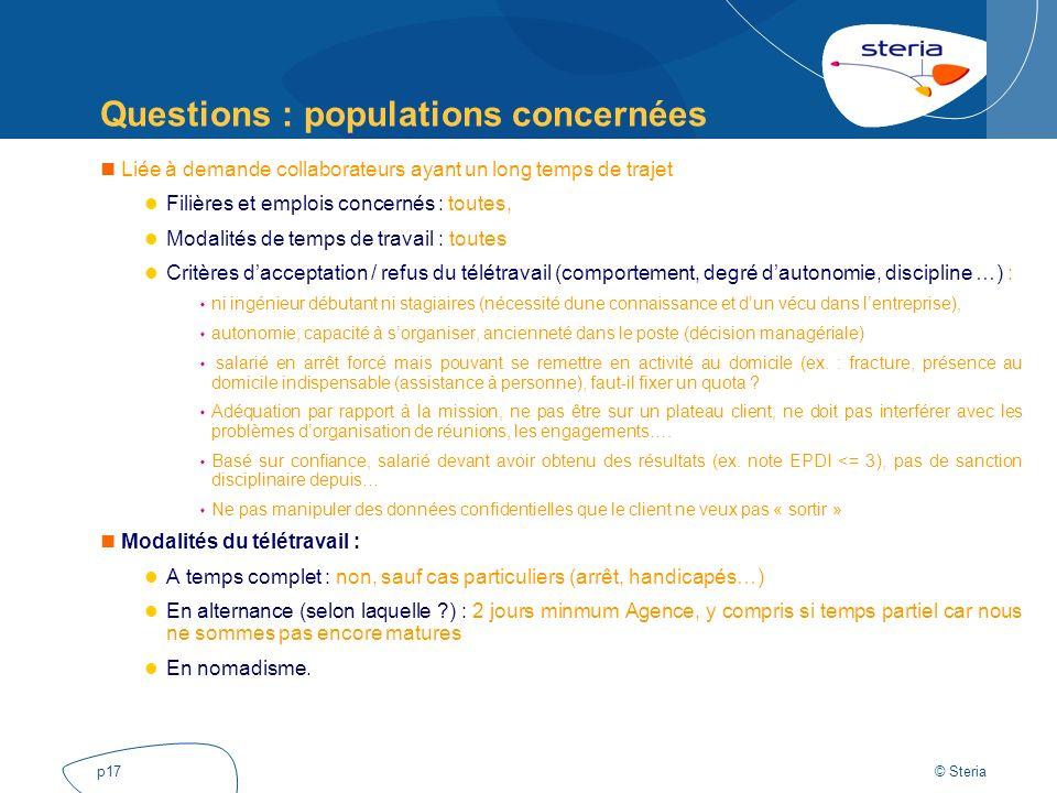 © Steria p17 Questions : populations concernées Liée à demande collaborateurs ayant un long temps de trajet Filières et emplois concernés : toutes, Mo