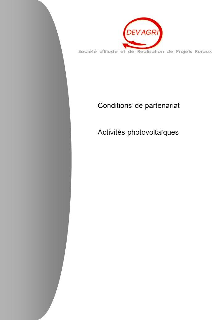 Conditions de partenariat Activités photovoltaïques