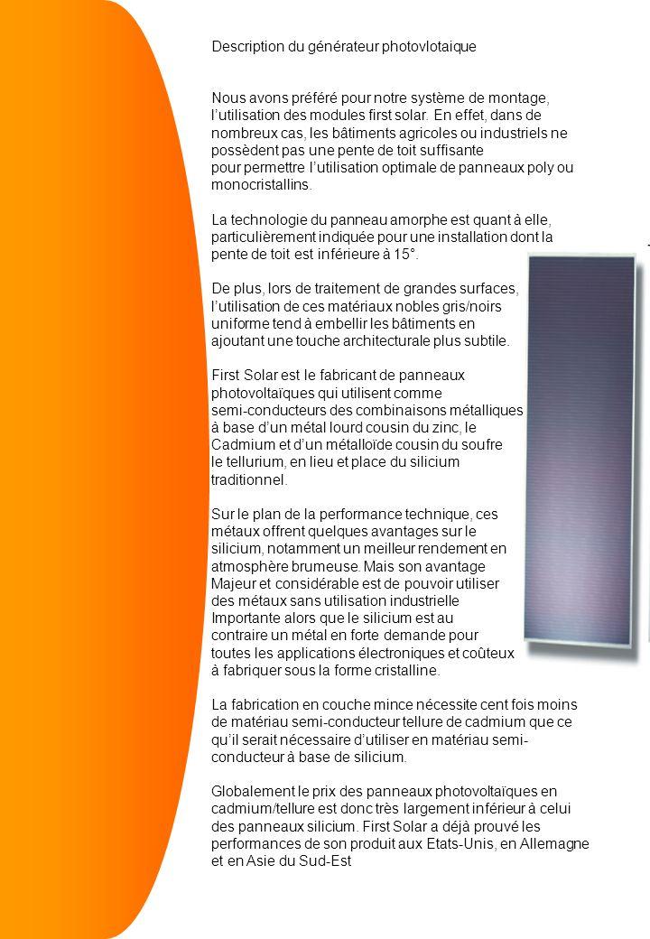 Description du générateur photovlotaique Nous avons préféré pour notre système de montage, lutilisation des modules first solar.