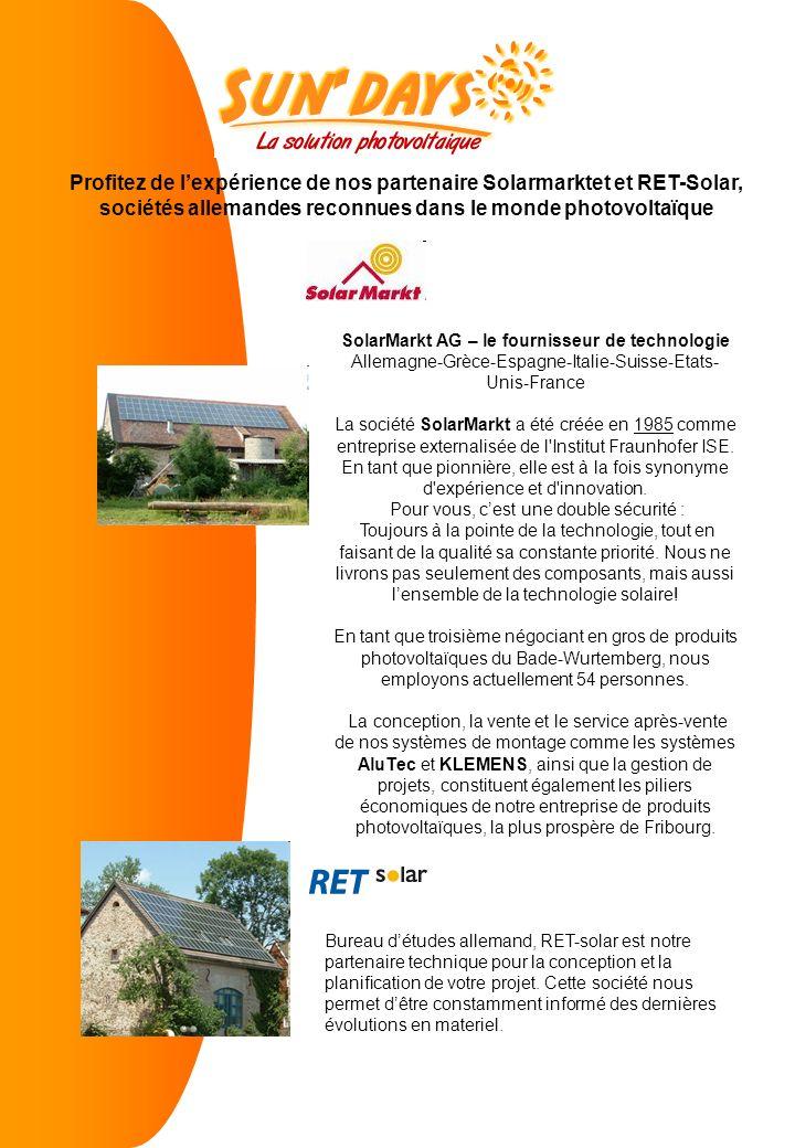 SolarMarkt AG – le fournisseur de technologie Allemagne-Grèce-Espagne-Italie-Suisse-Etats- Unis-France La société SolarMarkt a été créée en 1985 comme entreprise externalisée de l Institut Fraunhofer ISE.