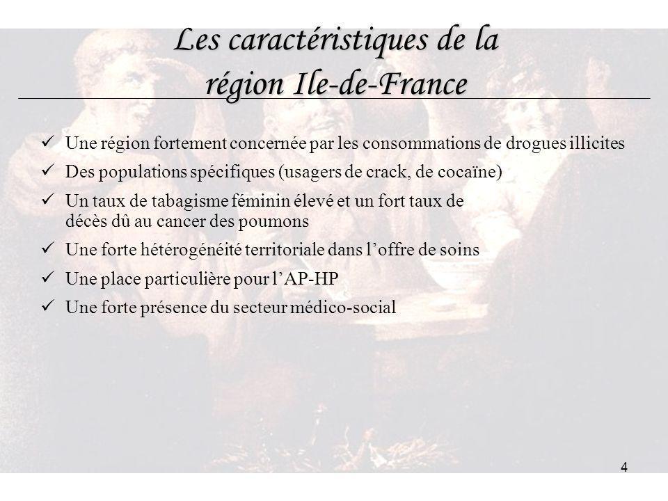 4 Les caractéristiques de la région Ile-de-France Une région fortement concernée par les consommations de drogues illicites Des populations spécifique