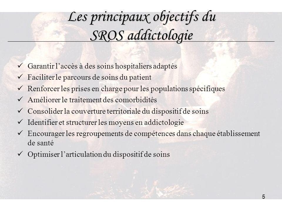 5 Les principaux objectifs du SROS addictologie Garantir laccès à des soins hospitaliers adaptés Faciliter le parcours de soins du patient Renforcer l