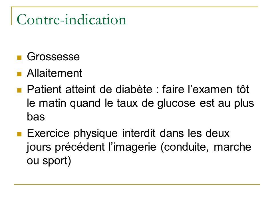 Contre-indication Grossesse Allaitement Patient atteint de diabète : faire lexamen tôt le matin quand le taux de glucose est au plus bas Exercice phys