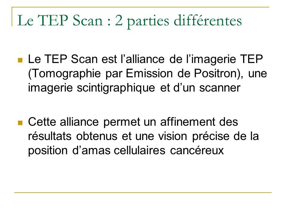 Le TEP Scan : 2 parties différentes Le TEP Scan est lalliance de limagerie TEP (Tomographie par Emission de Positron), une imagerie scintigraphique et