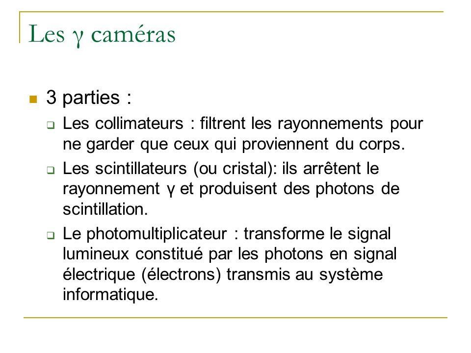 Les γ caméras 3 parties : Les collimateurs : filtrent les rayonnements pour ne garder que ceux qui proviennent du corps. Les scintillateurs (ou crista