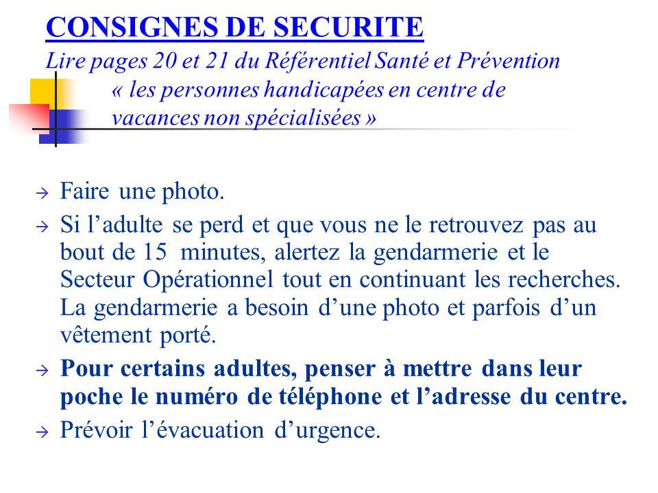 CONSIGNES DE SECURITE Lire pages 20 et 21 du Référentiel Santé et Prévention « les personnes handicapées en centre de vacances non spécialisées » Faire une photo.