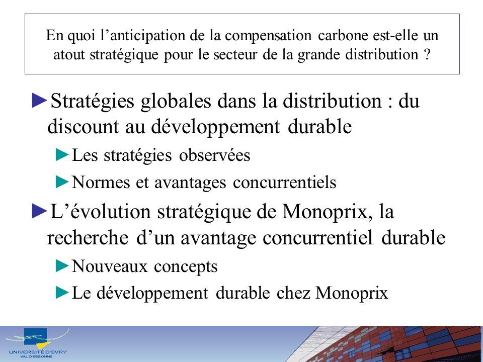En quoi lanticipation de la compensation carbone est-elle un atout stratégique pour le secteur de la grande distribution ? Stratégies globales dans la