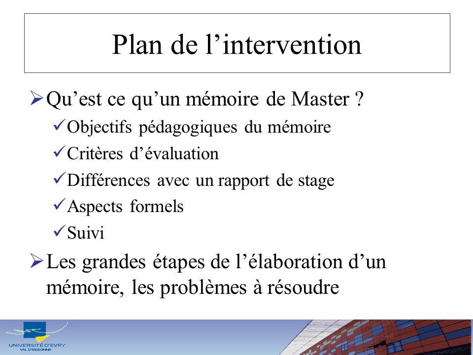 Plan de lintervention Quest ce quun mémoire de Master ? Objectifs pédagogiques du mémoire Critères dévaluation Différences avec un rapport de stage As