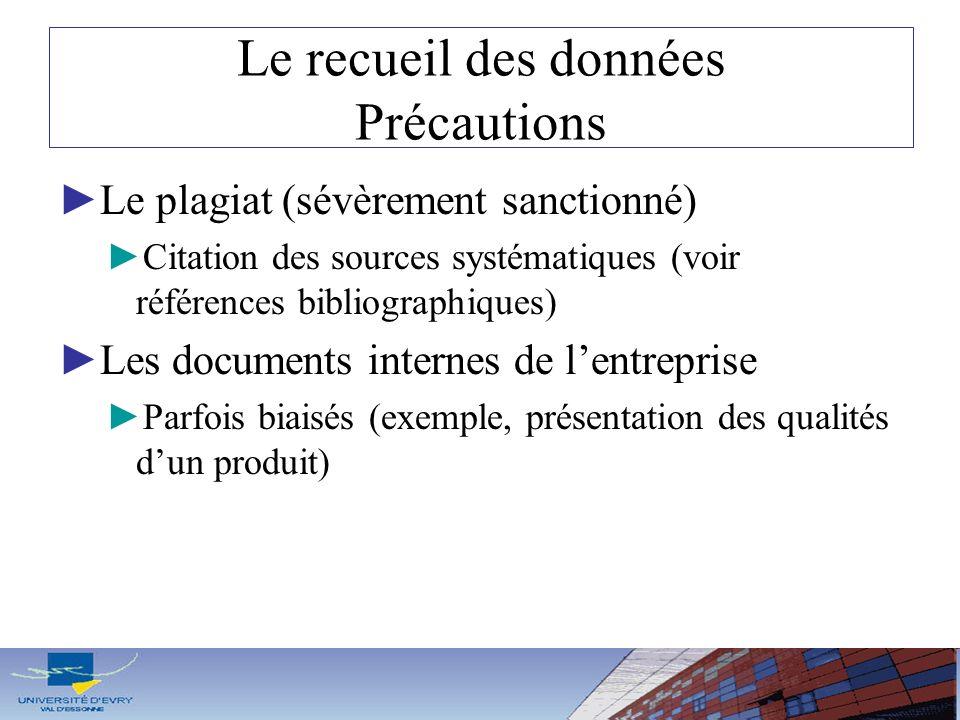 Le recueil des données Précautions Le plagiat (sévèrement sanctionné) Citation des sources systématiques (voir références bibliographiques) Les docume