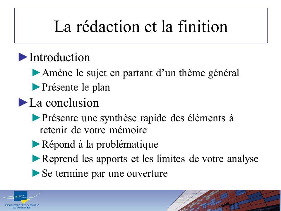 La rédaction et la finition Introduction Amène le sujet en partant dun thème général Présente le plan La conclusion Présente une synthèse rapide des é