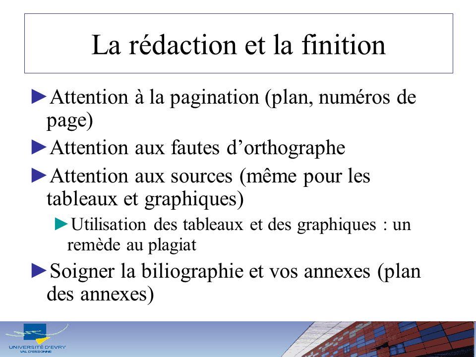 La rédaction et la finition Attention à la pagination (plan, numéros de page) Attention aux fautes dorthographe Attention aux sources (même pour les t