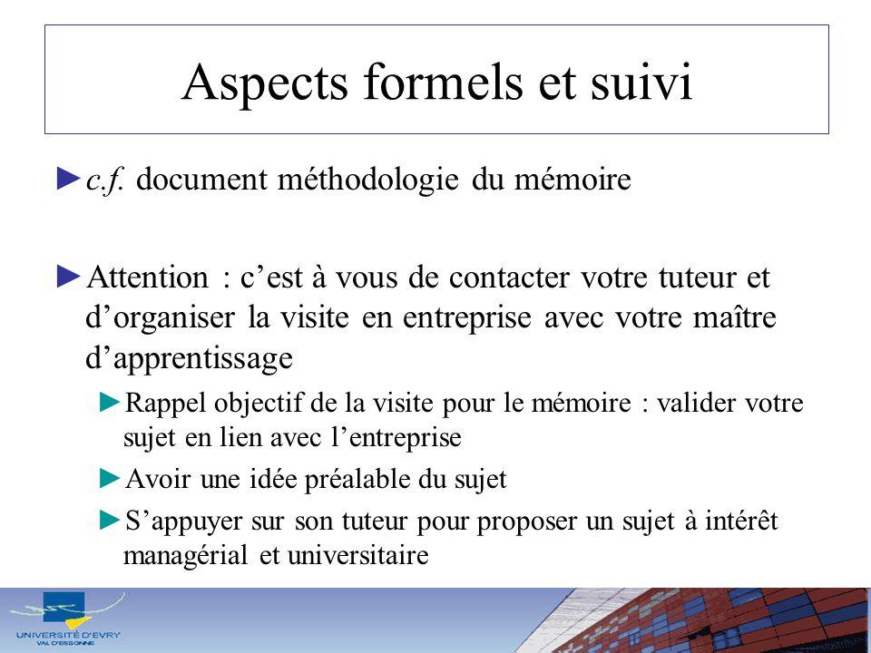 Aspects formels et suivi c.f. document méthodologie du mémoire Attention : cest à vous de contacter votre tuteur et dorganiser la visite en entreprise