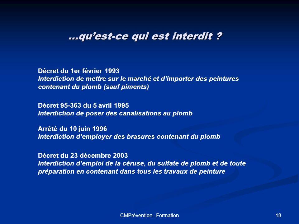 17CMPrévention - Formation Les principes généraux de prévention ( loi n° 91- 1414 du 31/12/1991) Les principes généraux de prévention ( loi n° 91- 141