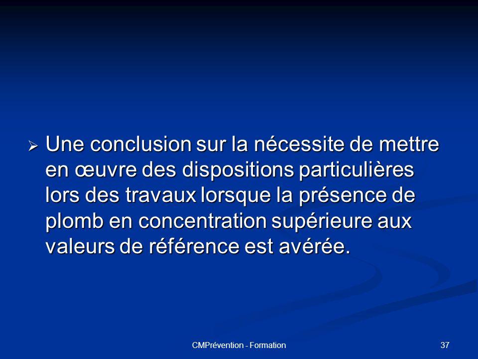 36CMPrévention - Formation LE CONTENU DU RAPPORT DIAGNOSTIC La méthodologie utilisée. La méthodologie utilisée. Les valeurs de référence utilisées. Le
