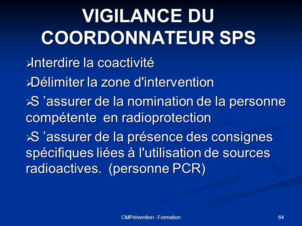 63CMPrévention - Formation VIGILANCE DU COORDONNATEUR SPS Lors de la réalisation d'un diagnostic Plomb à l'intérieur d'un chantier le coordonnateur do