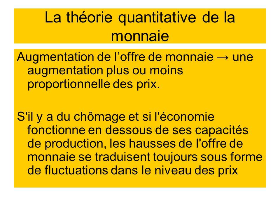 La théorie quantitative de la monnaie Augmentation de loffre de monnaie une augmentation plus ou moins proportionnelle des prix. S'il y a du chômage e