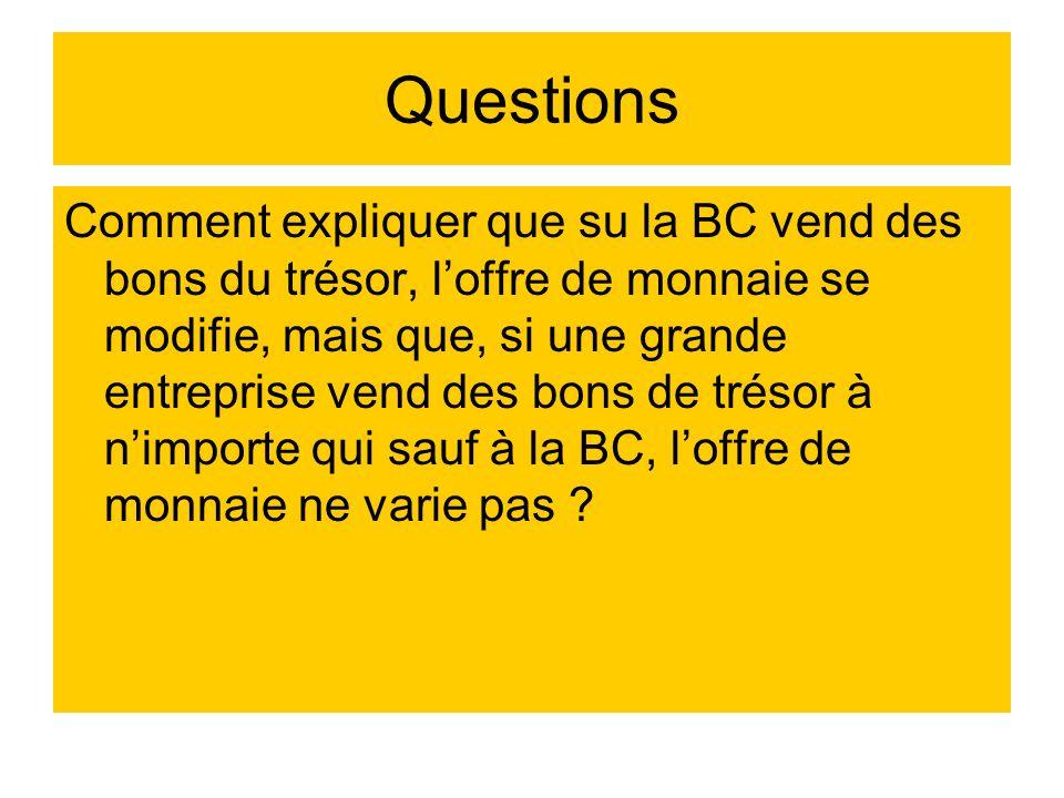 Questions Comment expliquer que su la BC vend des bons du trésor, loffre de monnaie se modifie, mais que, si une grande entreprise vend des bons de tr
