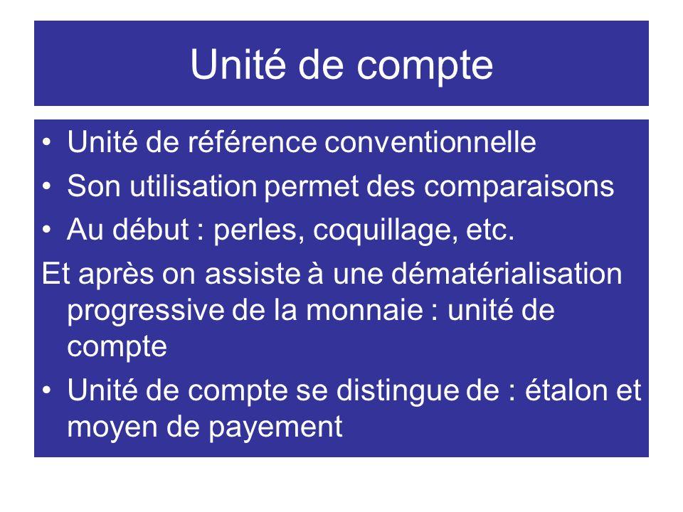 Unité de compte Unité de référence conventionnelle Son utilisation permet des comparaisons Au début : perles, coquillage, etc. Et après on assiste à u