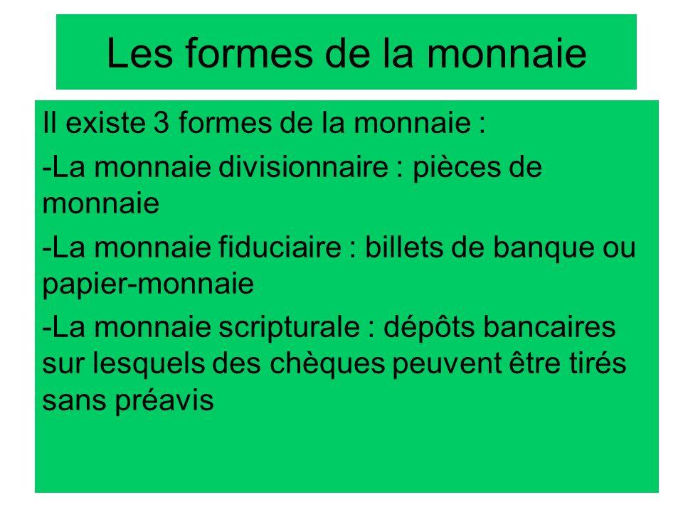 Les formes de la monnaie Il existe 3 formes de la monnaie : -La monnaie divisionnaire : pièces de monnaie -La monnaie fiduciaire : billets de banque o