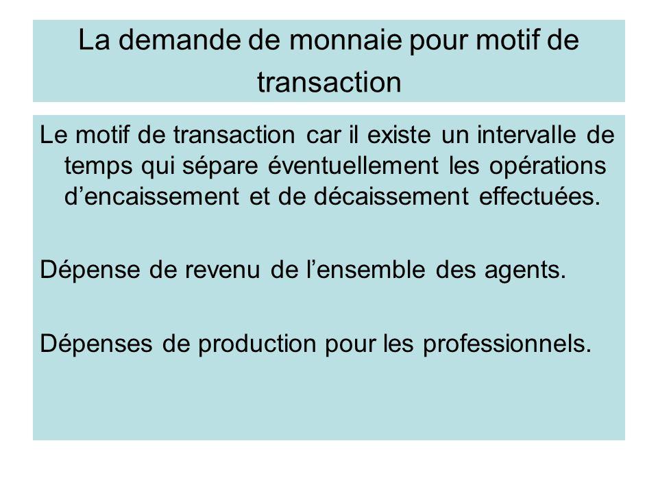 La demande de monnaie pour motif de transaction Le motif de transaction car il existe un intervalle de temps qui sépare éventuellement les opérations