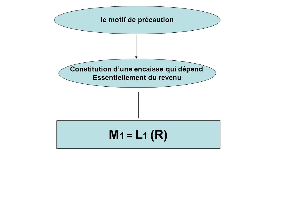 le motif de précaution Constitution dune encaisse qui dépend Essentiellement du revenu M 1 = L 1 (R)