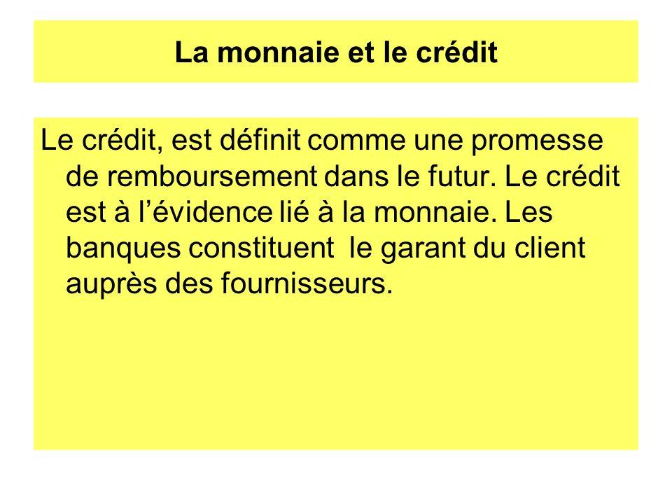 La monnaie et le crédit Le crédit, est définit comme une promesse de remboursement dans le futur. Le crédit est à lévidence lié à la monnaie. Les banq
