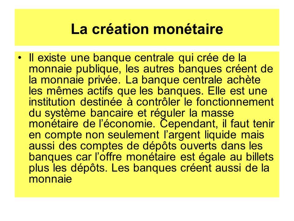 La création monétaire Il existe une banque centrale qui crée de la monnaie publique, les autres banques créent de la monnaie privée. La banque central
