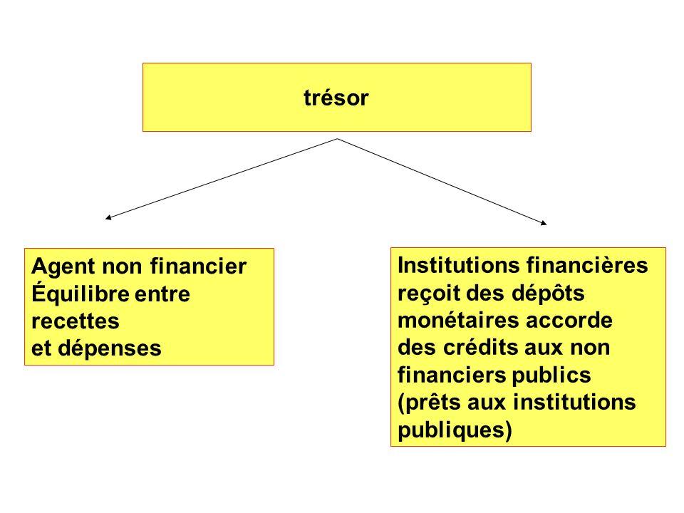 trésor Agent non financier Équilibre entre recettes et dépenses Institutions financières reçoit des dépôts monétaires accorde des crédits aux non fina