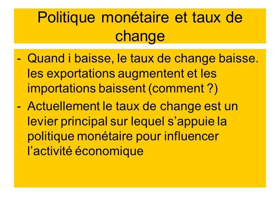 Politique monétaire et taux de change -Quand i baisse, le taux de change baisse. les exportations augmentent et les importations baissent (comment ?)