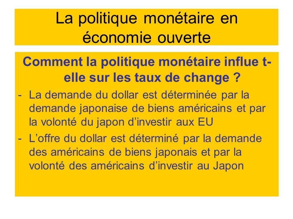 La politique monétaire en économie ouverte Comment la politique monétaire influe t- elle sur les taux de change ? -La demande du dollar est déterminée