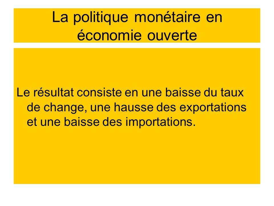 La politique monétaire en économie ouverte Le résultat consiste en une baisse du taux de change, une hausse des exportations et une baisse des importa