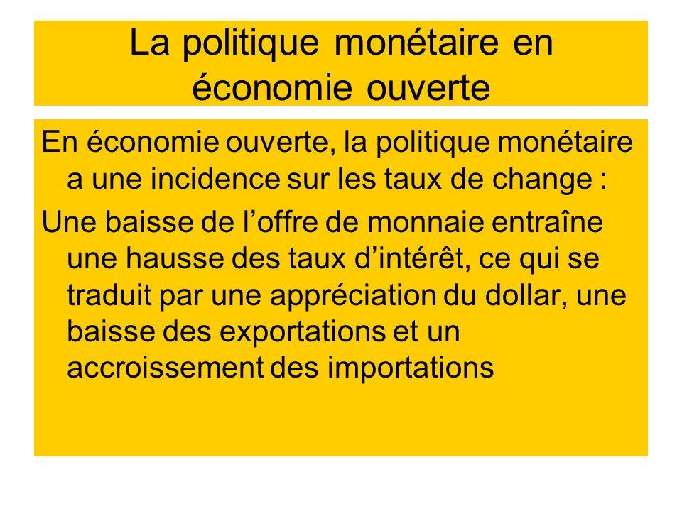 La politique monétaire en économie ouverte En économie ouverte, la politique monétaire a une incidence sur les taux de change : Une baisse de loffre d