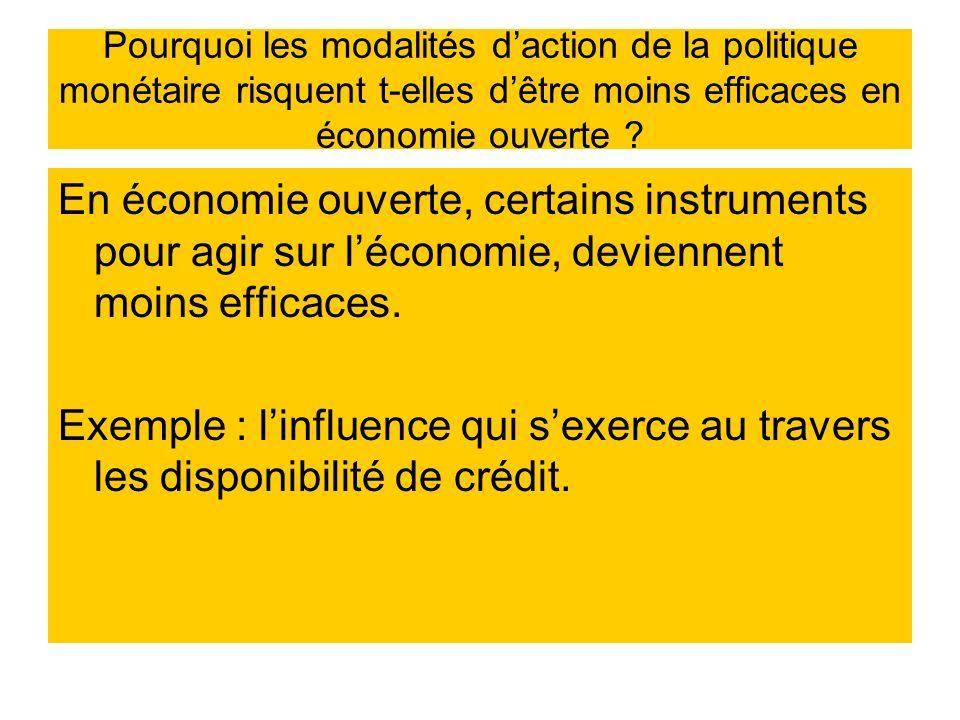 Pourquoi les modalités daction de la politique monétaire risquent t-elles dêtre moins efficaces en économie ouverte ? En économie ouverte, certains in