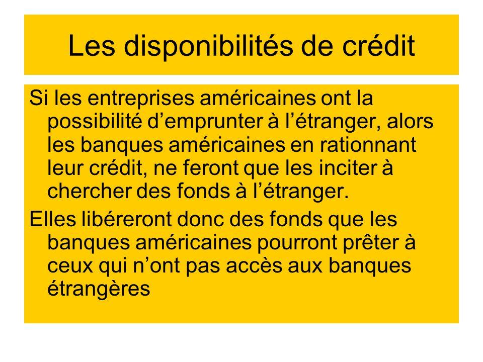 Les disponibilités de crédit Si les entreprises américaines ont la possibilité demprunter à létranger, alors les banques américaines en rationnant leu