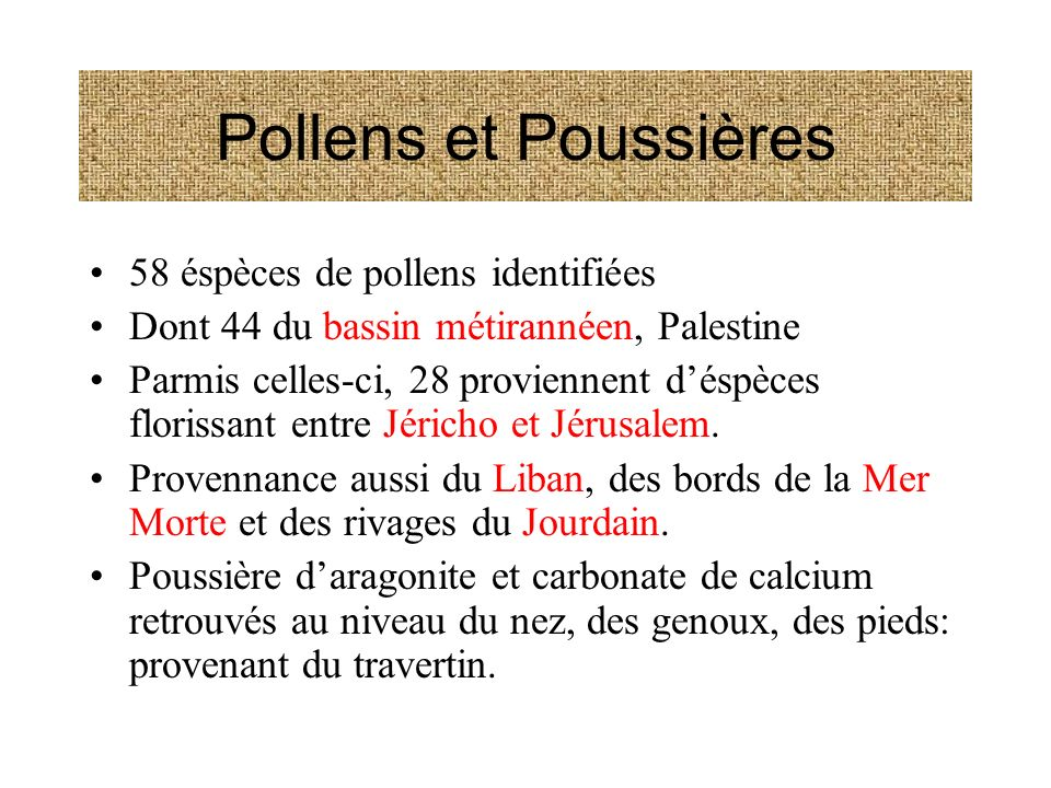 Pollens et Poussières 58 éspèces de pollens identifiées Dont 44 du bassin métirannéen, Palestine Parmis celles-ci, 28 proviennent déspèces florissant entre Jéricho et Jérusalem.